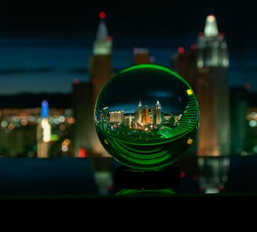 crystal ball reflecting cityscape at night