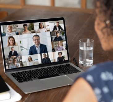 woman on video call on laptop