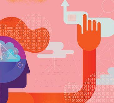 Vibrant flat vector illustration depicting Ai intelligence concept