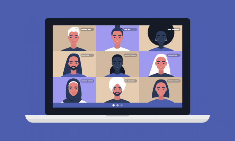 illustration of people on video call