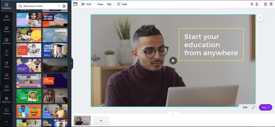 screenshot of video editing on canva