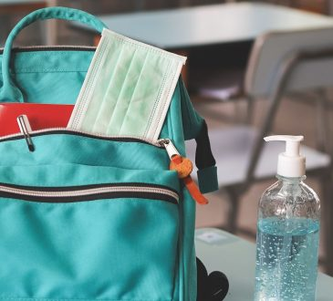 backpack with mask and hand sanitizer