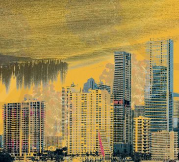 illustration of skyscapers with upside-down farm as sky