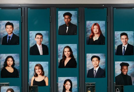 student graduation photos on lockers