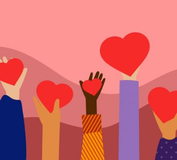 illustration of hands holding up hearts