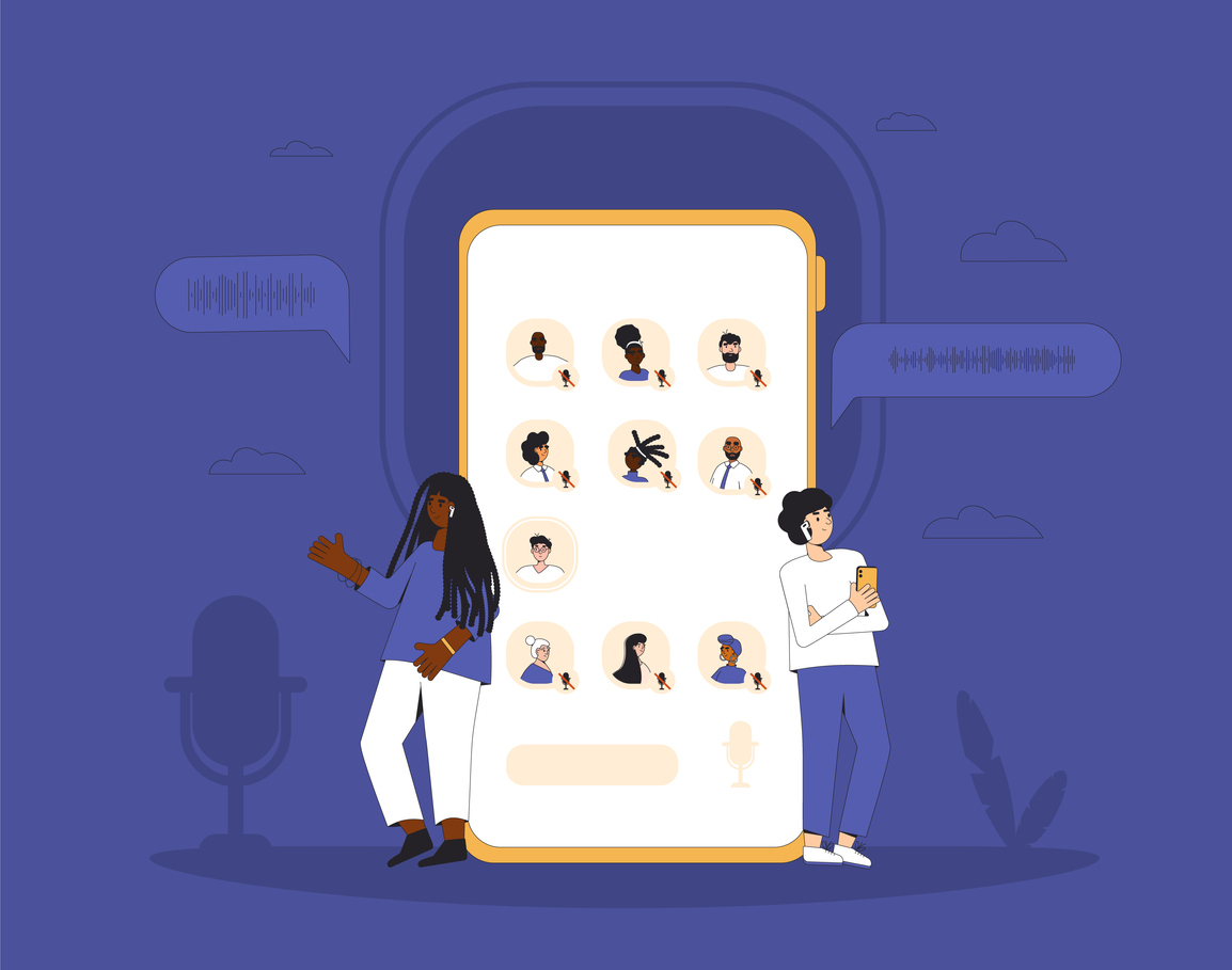 illustration of two people leaning against human-sized phone with a bunch of people on the screen talking