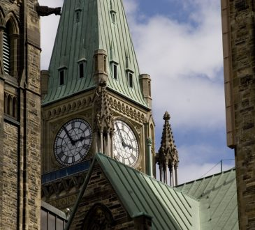 Shot of the Peace Tower, part of the main block of Canada's parliament buildings in Ottawa.