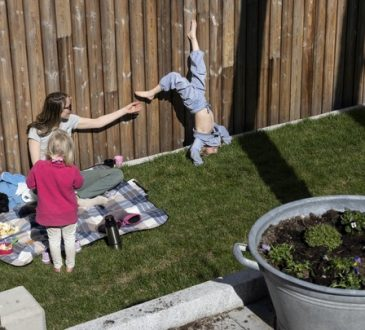mom and kids playing in backyard