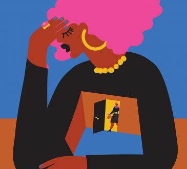 illustration of black woman with head in hands