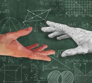 robot and human hand reaching to touch across blackboard