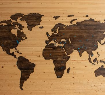 wooden map of the globe
