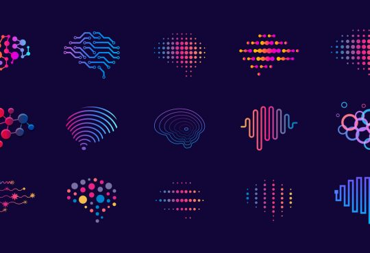 digital icon representations of brains using colourful lines and dots on dark purple background