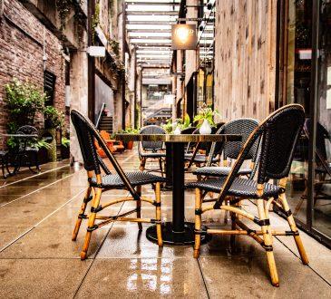 empty restaurant patio in laneway
