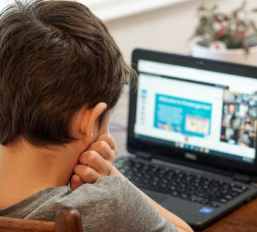 child looking at laptop screen