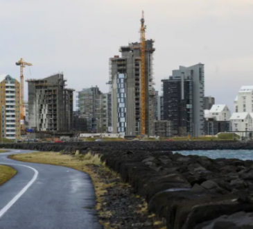 View of the sea front line and the city of Reykjavik.
