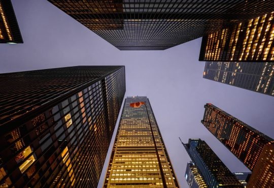 A panoramic view of the financial district showing businesses and skyscrapers in Toronto, Ontario, Canada