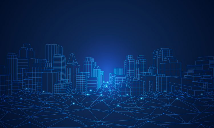 Wireframe cityscape in futuristic style.
