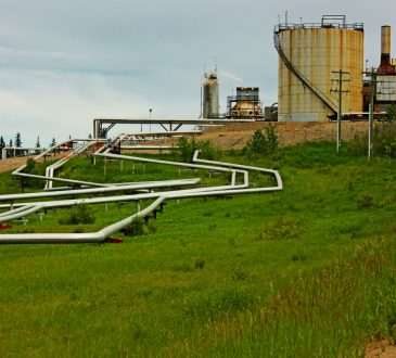 Oil pipes and refinery in green field.