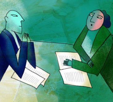 Illustration of two people negotiating across table.
