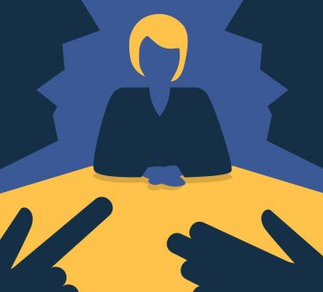 vector illustration of woman in job interview with two interviewers in discussion