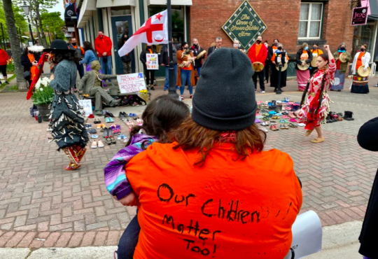 Indigenous community members organized an event with 215 pairs of children's shoes at the feet of the statue of John A. Macdonald in downtown Charlottetown on May 31, 2021.