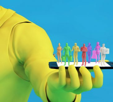 Photo illustration of neon yellow businessman holding tablet with gig workers standing on top of it.