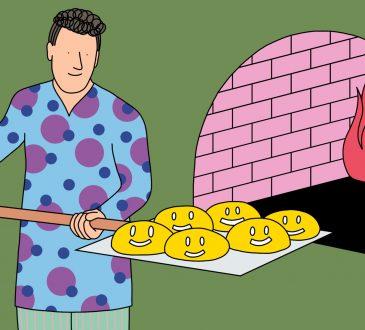 Illustration of man sliding money into pizza oven.