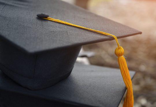 Black graduation cap.