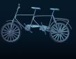 Illustration of tandem bicycle on dark blue background.