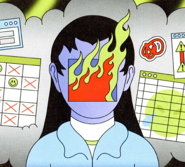 Illustration of woman with face on fire surrounded by work calendars.