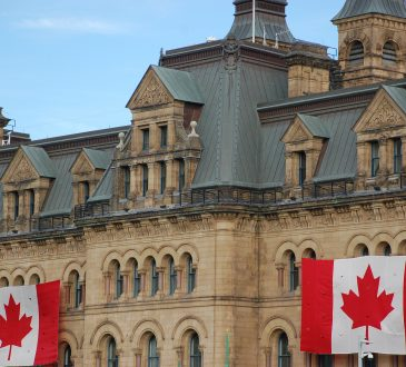 Canadian flags on building.