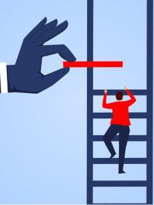 Illustration of person putting rung on ladder that man is climbing