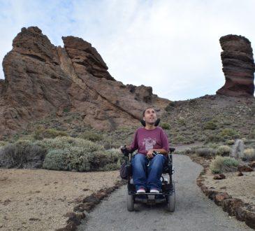Man using wheelchair in Tenerife, Spain