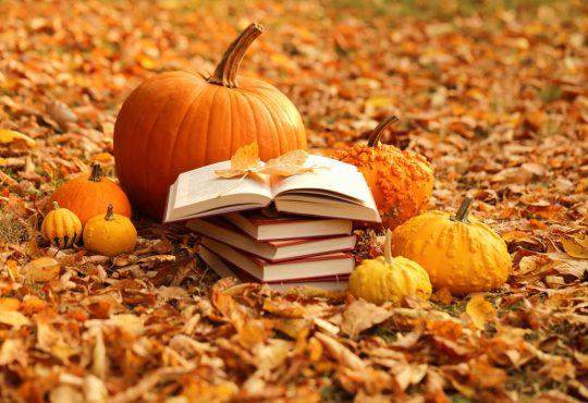 Stack of books and orange pumpkins set on autumn foliage