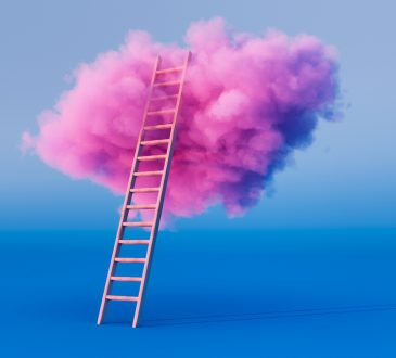 Photo illustration of ladder leading up to pink cloud.