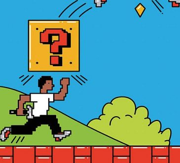 Illustration of character running through Mario-style video game